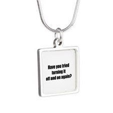 Off and on again Silver Square Necklace