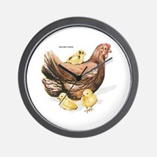 Hen and Chicks Chicken Wall Clock