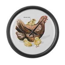 Hen and Chicks Chicken Large Wall Clock