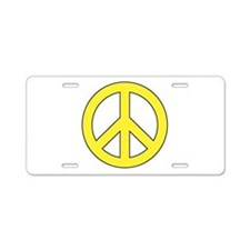 Yellow Peace Sign Aluminum License Plate
