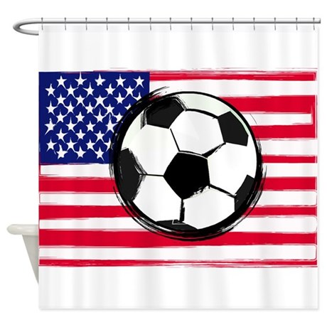 Delightful USA Soccer Shower Curtain