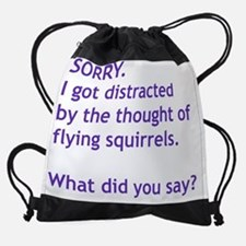 Purple Squirrels Drawstring Bag
