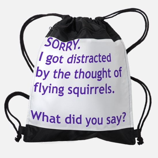 Purple Squirrels Drawstring Bag