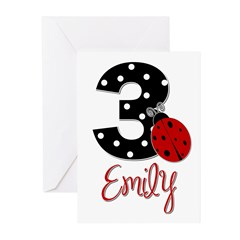 3 Ladybug EMILY - Custom Greeting Cards (Pk of 20)