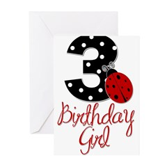 3 Ladybug Birthday Girl Greeting Cards (Pk of 10)