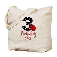 3 Ladybug Birthday Girl Tote Bag