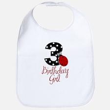 3 Ladybug Birthday Girl Bib