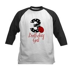 3 Ladybug Birthday Girl Baseball Jersey