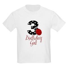 3 Ladybug Birthday Girl T-Shirt