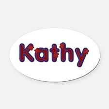Kathy Red Caps Oval Car Magnet