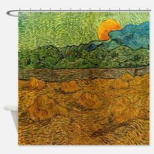 Evening Landscape Rising Moon Shower Curtain