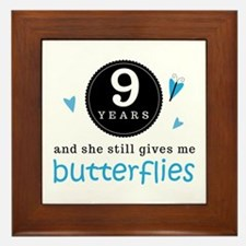 9 Year Anniversary Butterfly Framed Tile