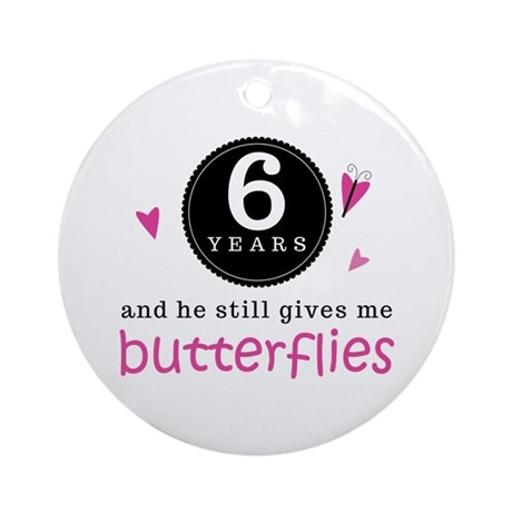 6th Anniversary Butterflies Ornament (Round)