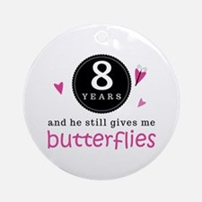 8th Anniversary Butterflies Ornament (Round)