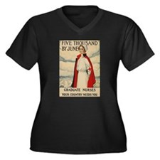 USA Nurse Women's Plus Size V-Neck Dark T-Shirt