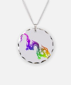 Rainbow Spiral Necklace Circle Charm
