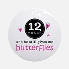 12th Anniversary Butterflies Ornament (Round)