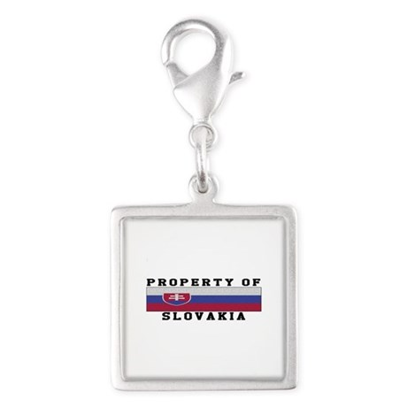 Property Of Slovakia Silver Square Charm