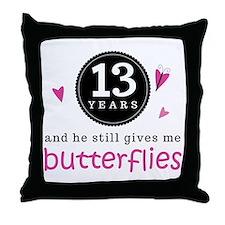 13th Anniversary Butterflies Throw Pillow