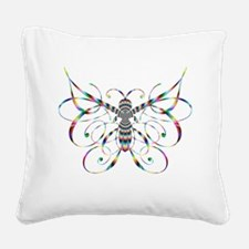 Rainbow Butterfly Square Canvas Pillow