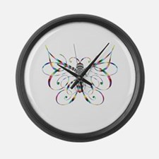 Rainbow Butterfly Large Wall Clock