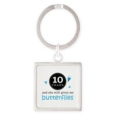 10 Year Anniversary Butterfly Square Keychain
