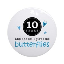10 Year Anniversary Butterfly Ornament (Round)