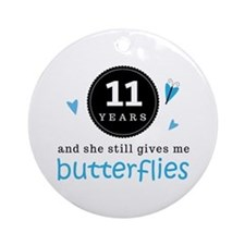 11 Year Anniversary Butterfly Ornament (Round)