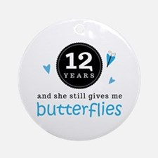12 Year Anniversary Butterfly Ornament (Round)