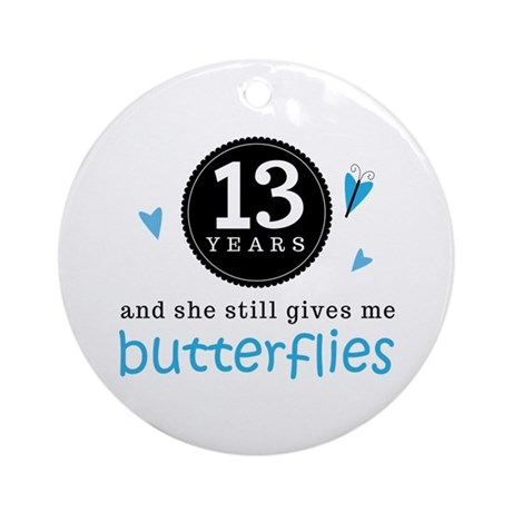 13 Year Anniversary Butterfly Ornament (Round)