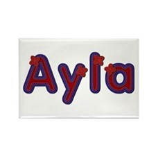 Ayla Red Caps Rectangle Magnet