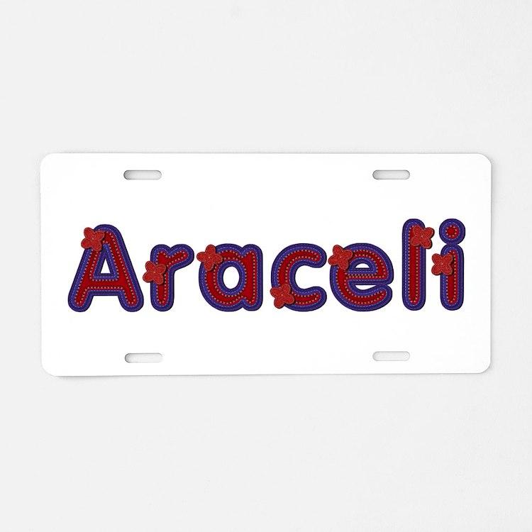 Araceli Red Caps Aluminum License Plate