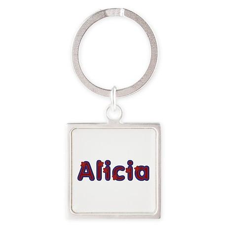 Alicia Red Caps Square Keychain