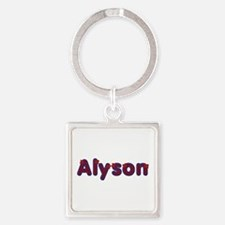 Alyson Red Caps Square Keychain