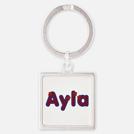 Ayla Red Caps Square Keychain