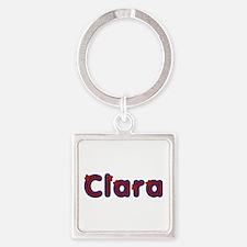 Clara Red Caps Square Keychain