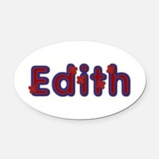 Edith Red Caps Oval Car Magnet