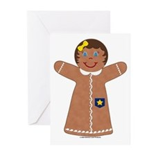 Gingerbread Girl Star Greeting Cards (Pk of 10)
