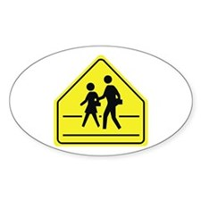 School Crossing Oval Stickers