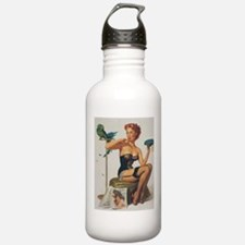Classic Elvgren 1950s Pin Up Girl Water Bottle