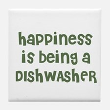 Happiness is being a DISHWASH Tile Coaster