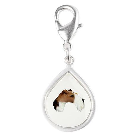 Wire Fox Terrier Silver Teardrop Charm