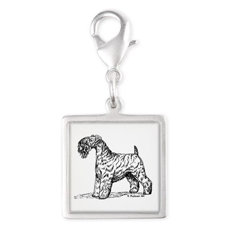 Kerry Blue Terrier Silver Square Charm