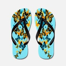 Blue Butterflies Flip Flops