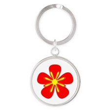 Red Retro Floral Power Keychains