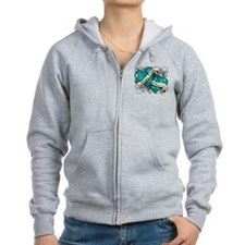 Interstitial Cystitis Hope Dual Heart Zip Hoodie