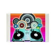DJ Turntable and Balls Rectangle Magnet