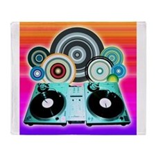 DJ Turntable and Balls Throw Blanket