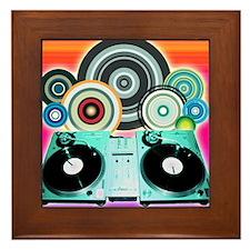 DJ Turntable and Balls Framed Tile