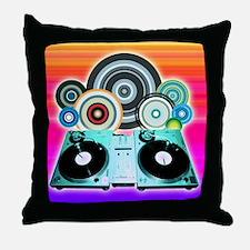 DJ Turntable and Balls Throw Pillow